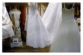 Wedding gowns in cleaned and ready for preservation.